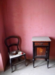 chair and cupboard